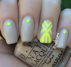 Nude & neon nails