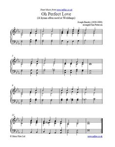 Oh Perfect Love, composed by Joseph Barnby - a popular Wedding Hymn: Traditional Sheet Music Country Wedding Music, Wedding Hymns, Wedding Songs, Dj Music, Piano Music, Music Notes, Church Songs, Church Music, Shower Song
