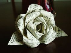 vintage hymnal book music paper flower rose with by HBixbyArtworks, $7.00
