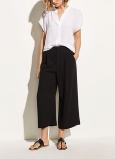 Shop Vince's High Waist Culotte for Women. The high waist culotte is cut from signature satin back crepe that emphasizes its fluid look and feel. Mode Outfits, Casual Outfits, Fashion Outfits, Fashion Hacks, Fashion Over 50, Love Fashion, French Fashion, Ladies Fashion, Diy Fashion