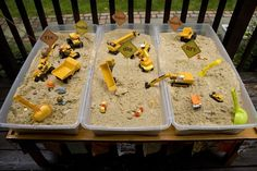 Construction Theme Party Set up dig stations! How fun would that be! Messy... so take it outside or put down a shower curtain to help with spills!