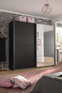 Next Cameron Dark Grey Sliding Wardrobe by Rauch Wall Wardrobe Design, Sliding Door Wardrobe Designs, Wardrobe Interior Design, Bedroom Closet Design, Bedroom Furniture Design, Wardrobe Doors, Home Room Design, Room Ideas Bedroom, Bedroom Decor