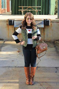 Army vest, stripes, skinnies, boots Army Skinny  #topmode #jamesfaith712 #nicefashion #ArmySkinny  2dayslook.com