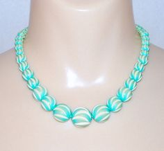 Vintage 1940's Spiral Carved Aqua Blue Galalith Thermoplastic Beads Necklace
