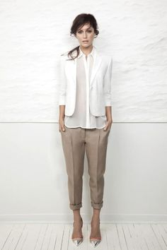 white blazer with tan pants
