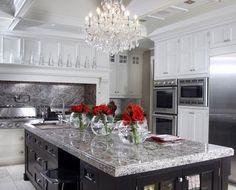 gray stone kitchen island