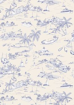 Capturing the charm and intrigue of a thriving harbor town was no small feat, yet perfectly executed in Bahamas in this crisp and modern toile du jouy Featured here in and from the Biscayne collection. Coastal Wallpaper, Toile Wallpaper, Print Wallpaper, French Wallpaper, Kids Prints, Bold Prints, Inspirational Wallpapers, Collage Maker, Illustrations