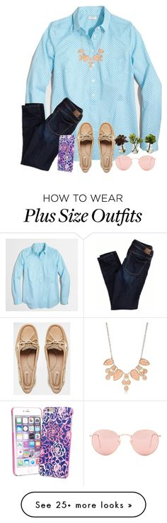 """""""⛳☕="""" by tinyblueowls on Polyvore featuring J.Crew, American Eagle Outfitters, Vera Bradley, New Directions, Sperry, Ray-Ban and Nearly Natural"""