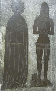 English: Monumental brass of Thomas 5th Baron Berkeley(d.1417), Church of St Mary the Virgin, Wotton-under-Edge, Gloucestershire. From same workshop as the very similar brass of Maurice Russell, knight(d.1416) at Dyrham Church, Glos.