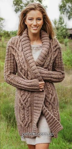 Beautiful cardigan with a pattern of braids.  The description scheme