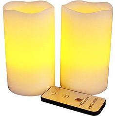 LED Lytes Flameless Candles, Battery Operated Pillars w/Remote Set of 2 Ivory Wax and Amber Yellow Flame
