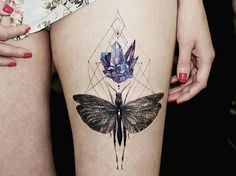 Geometric crystal insect tattoo
