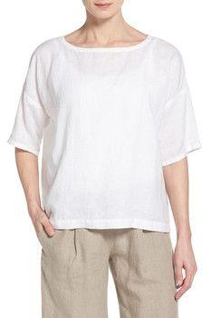 Eileen Fisher Handkerchief Linen Ballet Neck Boxy Top