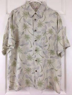 Caribbean Joe Hawaiian Shirt Silk Blend Short Sleeve Palm Tree Size L Green #CaribbeanJoe #Hawaiian