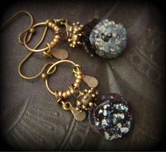 Ancient Roman Glass,, Vintage Brass Hoop Chain, Brass Beaded Earrings by YuccaBloom on Etsy