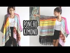 PONCHO KIMONO FÁCIL - CROCHÊ (with english subtitles) - YouTube