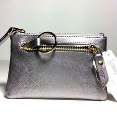 NEIMAN MARCUS WOMEN'S  LEATHER  ZIP-TOP COIN PURSE WITH KEY RING.SILVER.NWT #NeimanMarcus #CoinPurse