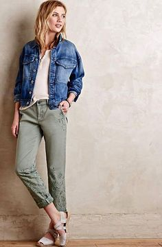 NWT Anthropologie sage green Pilcro Hyphen Embroidered Chino Pant Jean 33 $128 #PilcroHyphen #embroidered