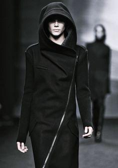 Black hooded asymmetrical zipper coat