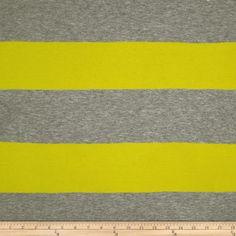 Designer Stretch Rayon Jersey Knit Stripes Neon Yellow/Grey