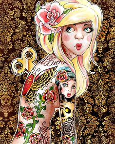 Wind me Up Art Print by Carissa Rose 5x7, 8x10, or 11x14 - Damask Lowbrow Tattoo Art Wind Up Doll Girl Signed Print