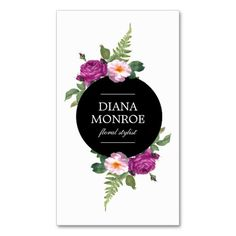 Modern Circle Floral Wreath White Business Card