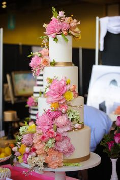 Lilly Pulitzer Inspired Sugar Flower Wedding Cake