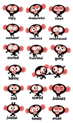 These were produced as stickers for a book designed to help children with behavioral problems. Cartoon Monkey, Monkey Art, Cartoon Faces, Cartoon Drawings, Monkey Illustration, Children's Book Illustration, Character Illustration, Cute Characters, Cartoon Characters