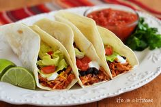 Crock Pot Chicken Tacos - Life In The Lofthouse - definitely trying this one out, yummy!