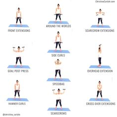 Fitness Workouts, Arm Workouts At Home, Body Workout At Home, Gym Workout Tips, Fitness Workout For Women, At Home Workout Plan, Body Fitness, Arm Workout At Gym, Arm Workouts Women