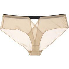 Jean Yu Eden silk-blend chiffon briefs ($145) ❤ liked on Polyvore featuring intimates, panties, lingerie, underwear, undies, see through pantys, sheer panties, cut out lingerie, chiffon panties and lingerie panty