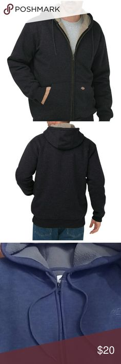 Men's Sweatshirt Men's Sperpa Lined Full Zip Hoodie Sweatshirt   Rib knit cuffs & waistband for comfort Fleece shell is bonded to 100% natural Sherpa Full front zipper  2 deep hand-warmer pockets  Fully lined fitted drawstring hood Color: Deep Blue First two pictures are factory.  NWOT Dickies Sweaters Zip Up