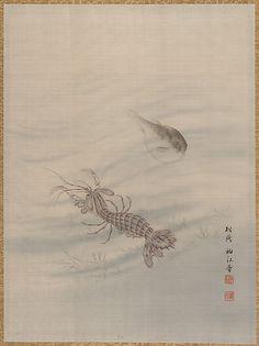 Bottom of the Sea Showing Cray Fish  Seki Shûkô (?)  (Japanese)  Period: Meiji period (1868–1912) Culture: Japan Medium: Album leaf; silk Dimensions: 14 1/4 x 10 5/8 in. (36.2 x 27.0 cm) Classification: Painting
