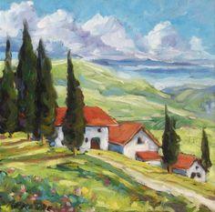 Tuscan Villas Painting  - Tuscan Villas Fine Art Print
