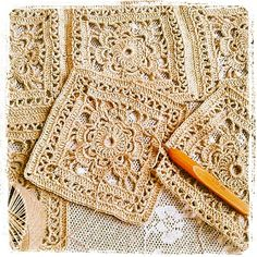 Lace crochet squares