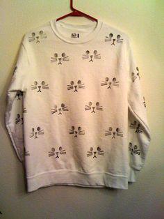 Cat sweatshirt by wildblacksheep on Etsy,