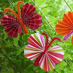 Pretty Paper Butterflies! via TheFrugalGirls.com #butterflies #kids #crafts