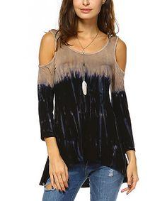 Look what I found on #zulily! Black & Mocha Tie-Dye Off-Shoulder Hi-Low Top #zulilyfinds