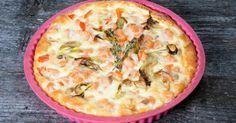 Recette de Quiche coquine régime au saumon, feta et épinards. Facile et rapide à réaliser, goûteuse et diététique.