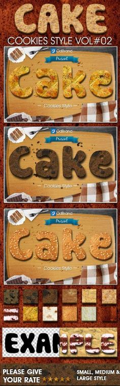 """Buy Cake Cookies Style by odbrand on GraphicRiver. """"Cake, Cookies Styles We are coming back with the yummy cookies style Cake, Cookies Style Vol. How To Use Photoshop, Photoshop Design, Yummy Cookies, Cake Cookies, Photoshop Text Effects, Photoshop Actions, Present Cake, Baker Cake, Buy Cake"""