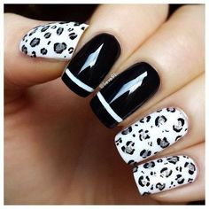 Black Nails with White Stripes and Silver Leopard on White