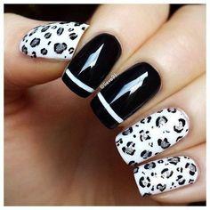 BLACKOUT Nails  #blackwhite #nailart #prettynails  (idea: do this with Opi Push and Shove)