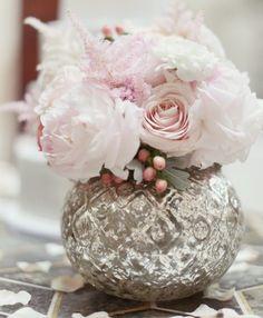 Vintage floral vase wedding table centerpiece