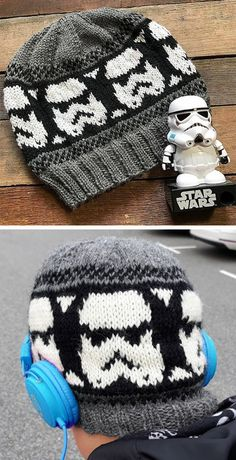 Free Knitting Pattern for Storm Trooper Beanie - Star Wars inspired hat knit wit. , Free Knitting Pattern for Storm Trooper Beanie - Star Wars inspired hat knit with beginner-friendly stranded colorwork and a simple construction, this. Baby Knitting Patterns, Knitting For Kids, Knitting For Beginners, Knitting Socks, Knitting Designs, Free Knitting, Knitted Hats, Crochet Patterns, Crochet Hats