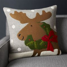 Shop Holiday Moose Pillow with Down-Alternative Insert Joan Anderson's delightful wreath-bedecked moose gets up close and person in this charming felt pillow. Christmas Cushions, Christmas Pillow, Felt Christmas, Christmas Crafts, Christmas Moose, Country Christmas Decorations, Rustic Christmas, Crate And Barrel, Christmas Clearance
