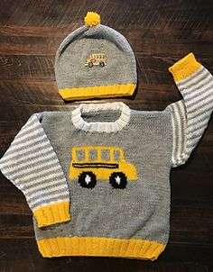 Bus Pullover : Ravelry: Bus Pullover pattern by Gail Pfeifle, Roo Designs Boys Knitting Patterns Free, Crochet Baby Hat Patterns, Baby Cardigan Knitting Pattern, Knitted Baby Cardigan, Baby Pullover, Knitted Baby Clothes, Crochet Baby Hats, Knitting For Kids, Baby Sweaters