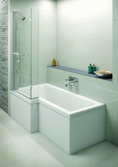 Save space, add style  This is a great idea: an over bath shower screen and shower tower in one! www.bathroomstolove.co.uk