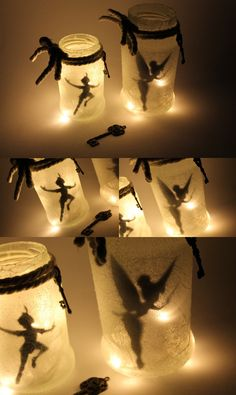 DIY Fairy Glass Tinkerbell / Peter Pan make it yourself- DIY Feenglas Tinkerbell / Peter Pan ganz einfach selber machen DIY Fairy Tinkerbell and Peter Pan: DIY, crafts, … - Pot Mason Diy, Mason Jar Crafts, Mason Jars, Fête Peter Pan, Peter Pan Party, Do It Yourself Upcycling, Do It Yourself Projects, Deco Disney, Fairy Jars