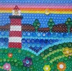 Plastic Bottle Tops, Plastic Bottle Crafts, Bottle Cap Crafts, Plastic Art, Recycle Plastic Bottles, Bottle Caps, Bottle Top Art, Beer Cap Art, Earth Craft