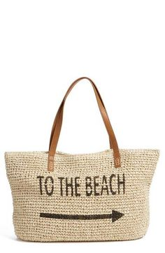 Smooth straps complement the natural texture of a straw tote that is perfect for carrying all of your gear to the beach - get even more style and shopping inspiration on http://jojotastic.com/shop-my-favorites/